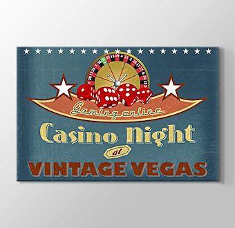 Vegas Casino Gecesi Vintage Poster