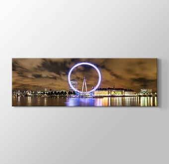 Wide Panorama of London Eye and River Thames