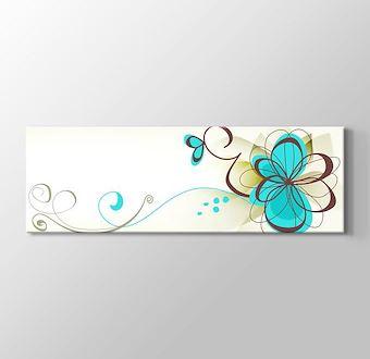 Kahve Mavi Retro Çiçekler