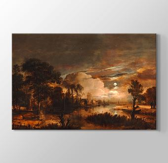 Moonlit Landscape with a View of the New Amstel River and Castle Kostverloren