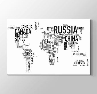 Tipografi Dünya Haritası - Beyaz I