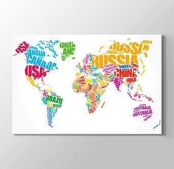 Tipografi Dünya Haritası - Renkli I