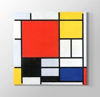 Composizione Con grande Piano Rosso, Giallo, Nero, Grigio e Blu