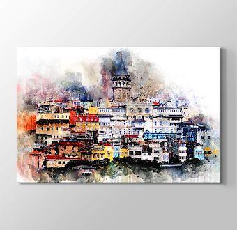 Galata Kulesi Sulu Boya Replikası - İstanbul