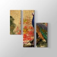 Renkli Cin Tavus Kusu Boyama Teknigi Kanvas Tablo Modelleri