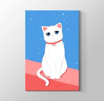 Sevimli Kedi Mavi Pembe