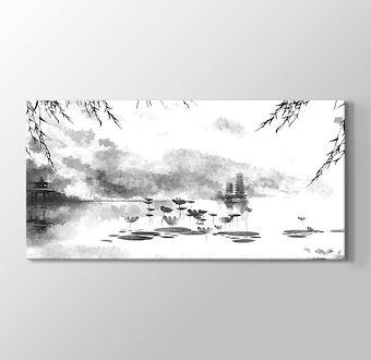 Asya Göl Kenarı Doğal Çizim