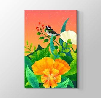 Çiçekler İçindeki Narin Kuş