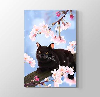 Ağaçtaki Siyah Kedi Gerçekçi Çizim
