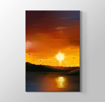 Günbatımı Kızıl Gökyüzü Gerçekçi Çizim