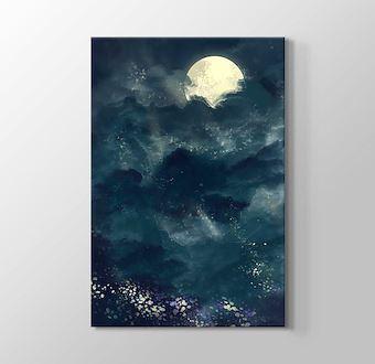 Ay Aktında Karanlık Gökyüzü Gerçekçi Çizim