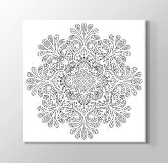 Desenli Çiçek Boyama Tablosu Mandala