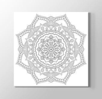 Sekizgen Çiçek Desenli Mandala Boyama Tablosu