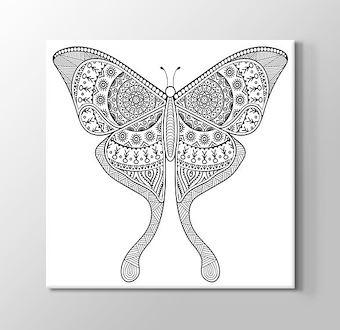 Kelebek Desenli Mandala Boyama Tablosu