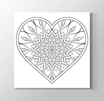 Kalp Desenli Mandala Boyama Tablosu
