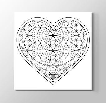Kalp İçinde Dairesel Motifli Mandala Boyama Tablosu