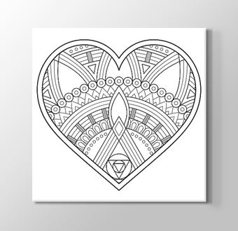 Kalp Desenli Benzersiz Şekilli Mandala Boyama Tablosu