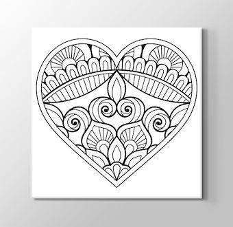 Kalp İçinde Çiçek Motifli Mandala Boyama Tablosu