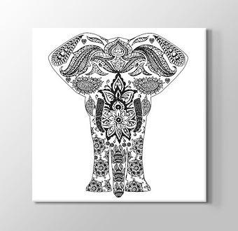 Fil Boyama Tablosu Çiçek Desenli Mandala