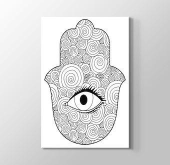 Fatıma'nın Eli - Hamsa Boyama Tablosu Mandala