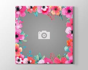 1 Fotoğraftan Pembe Çiçekler Kanvas Tablosu