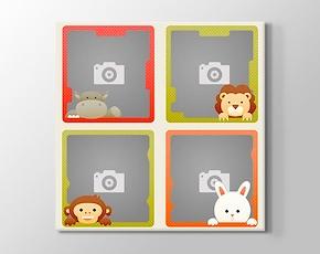 4 Fotoğraftan Eğlenceli Hayvanlar Kanvas Tablosu
